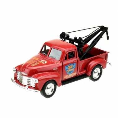 Goedkope modelauto chevrolet oldtimer stepside tow truck rood :