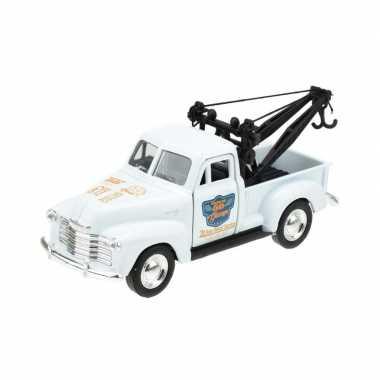 Goedkope modelauto chevrolet oldtimer stepside tow truck wit :