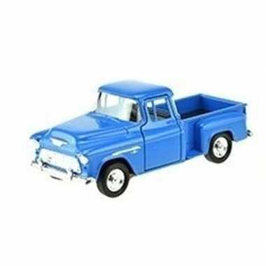 Goedkope modelauto chevrolet stepside blauw :