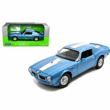 Goedkope modelauto pontiac firebird trans am blauw/wit :