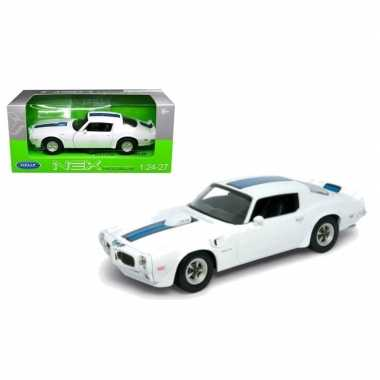 Goedkope modelauto pontiac firebird trans am wit/blauw :