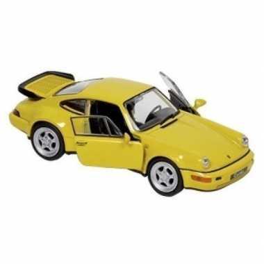 Goedkope modelauto porsche carrera geel :