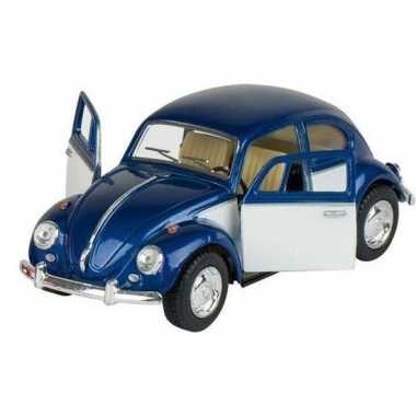 Goedkope modelauto volkswagen kever blauw/wit