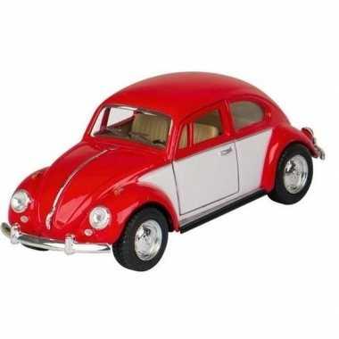 Goedkope modelauto volkswagen kever rood/wit