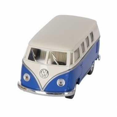 Goedkope modelauto volkswagen t blauw/wit ,