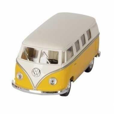 Goedkope modelauto volkswagen t geel/wit ,