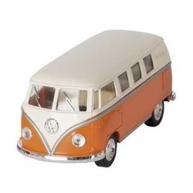 Goedkope modelauto volkswagen t oranje/wit ,