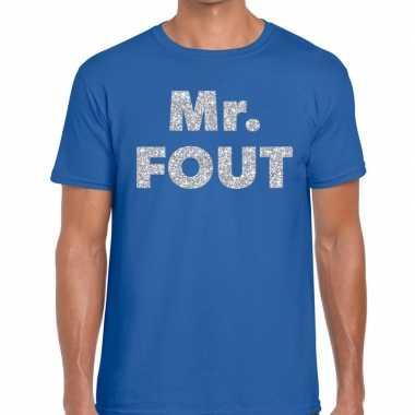 Goedkope mr. fout zilveren glitter tekst t shirt blauw heren