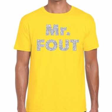 Goedkope mr. fout zilveren glitter tekst t shirt geel heren
