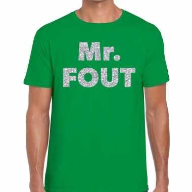 Goedkope mr. fout zilveren glitter tekst t shirt groen heren