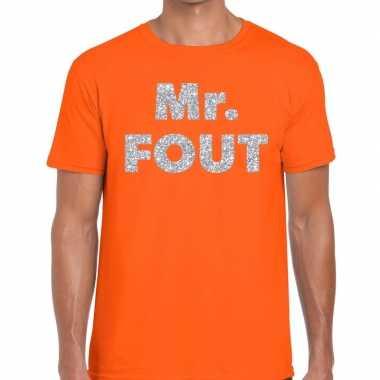 Goedkope mr. fout zilveren glitter tekst t shirt oranje heren