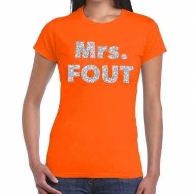 Goedkope mrs. fout zilver glitter tekst t shirt oranje dames