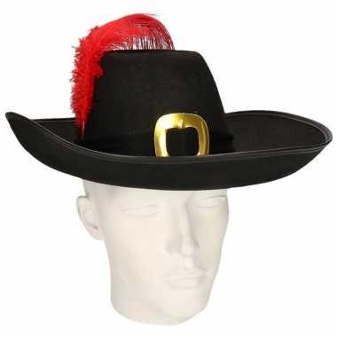 Goedkope musketier hoed zwarte band rode veer