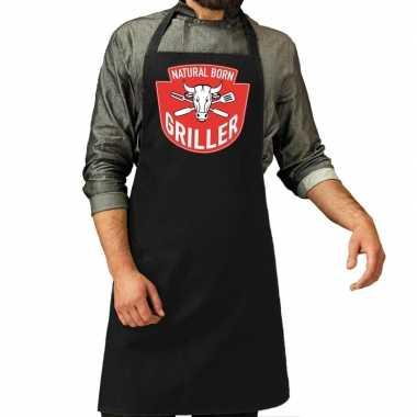 Goedkope natural born griller barbecue schort / keukenschort zwart h