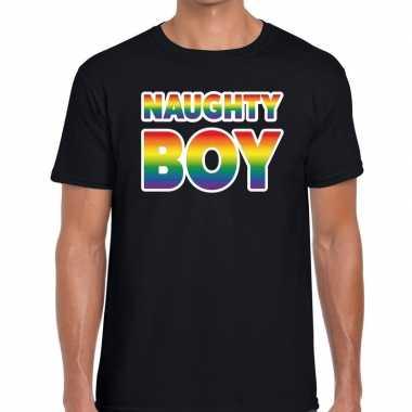 Goedkope naughty boy gaypride t shirt zwart heren
