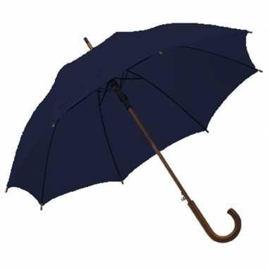 Goedkope navy blauwe paraplu houten handvat