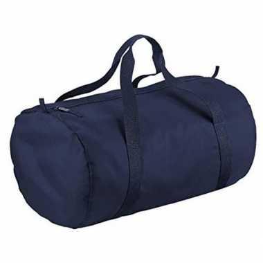 Goedkope navy blauwe ronde polyester sporttas/weekendtas liter
