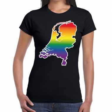 Goedkope nederland gaypride regenboog t shirt zwart dames