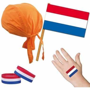 Goedkope nederland/holland thema verkleed set volwassenen