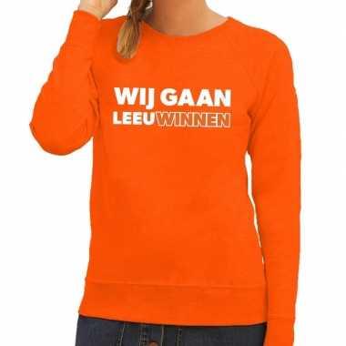 Goedkope nederland supporter sweater wij gaan leeuwinnen oranje dames