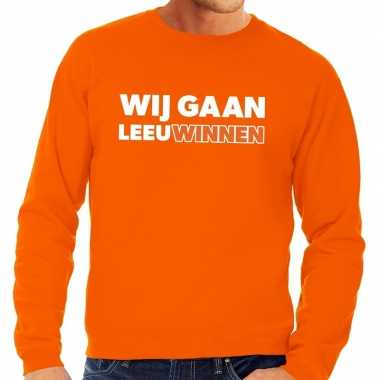 Goedkope nederland supporter sweater wij gaan leeuwinnen oranje heren