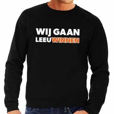 Goedkope nederland supporter sweater wij gaan leeuwinnen zwart heren