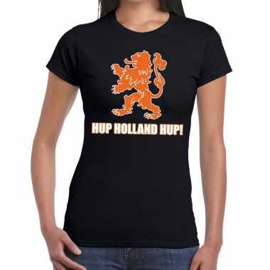 Goedkope nederland supporter t shirt hup holland hup zwart dames