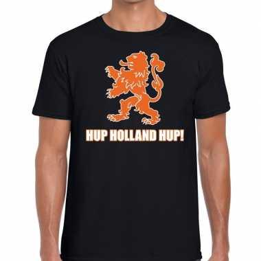 Goedkope nederland supporter t shirt hup holland hup zwart heren