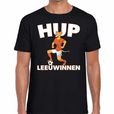 Goedkope nederland supporter t shirt hup leeuwinnen zwart heren