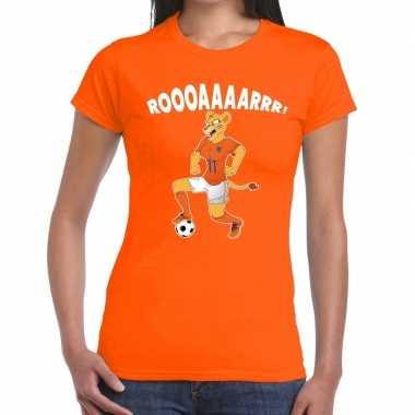 Goedkope nederland supporter t shirt leeuwin roooaaaarrr oranje dames