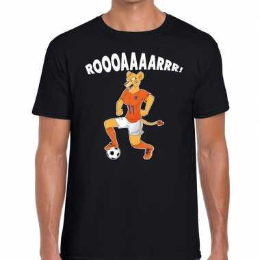 Goedkope nederland supporter t shirt leeuwin roooaaaarrr zwart heren