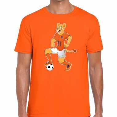Goedkope nederland supporter t shirt leeuwin voetbal oranje heren