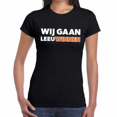 Goedkope nederland supporter t shirt wij gaan leeuwinnen zwart dames