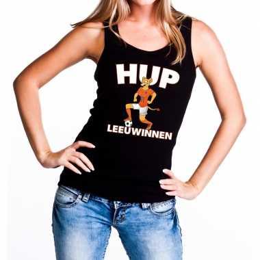 Goedkope nederland supporter tanktop hup leeuwinnen zwart dames