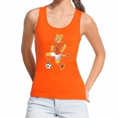 Goedkope nederland supporter tanktop leeuwin voetbal oranje dames