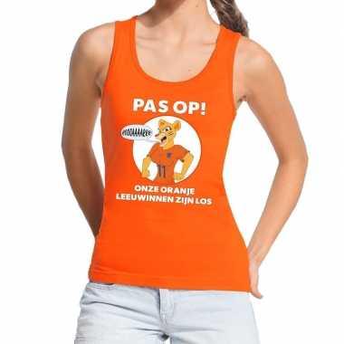 Goedkope nederland supporter tanktop leeuwinnen zijn los oranje dames