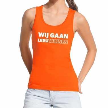 Goedkope nederland supporter tanktop wij gaan leeuwinnen oranje dames