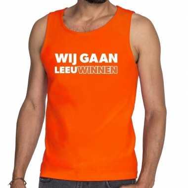 Goedkope nederland supporter tanktop wij gaan leeuwinnen oranje heren