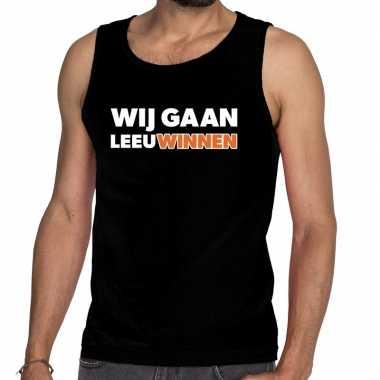 Goedkope nederland supporter tanktop wij gaan leeuwinnen zwart heren