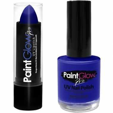 Goedkope neon blauwe uv lippenstift/lipstick nagellak schmink set