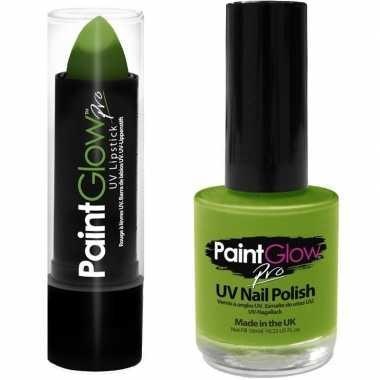 Goedkope neon groene uv lippenstift/lipstick nagellak schmink set