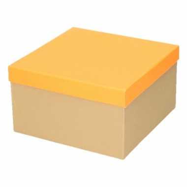 Goedkope neon oranje cadeaudoosje vierkant