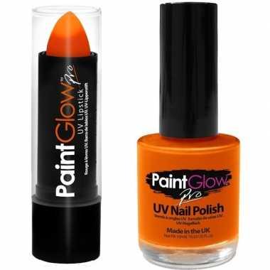 Goedkope neon oranje uv lippenstift/lipstick nagellak schmink set