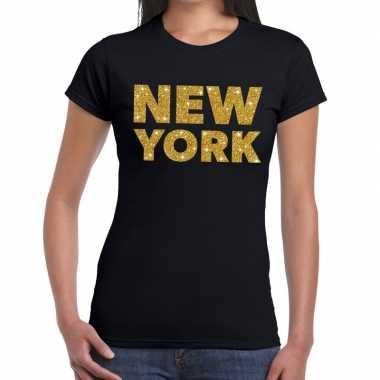Goedkope new york gouden glitter tekst t shirt zwart dames