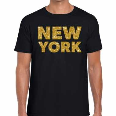 Goedkope new york gouden glitter tekst t shirt zwart heren