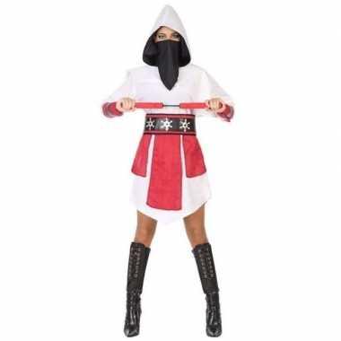 Goedkope ninja vechter verkleed jurk/kostuum wit/rood dames