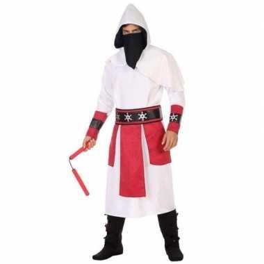 Goedkope ninja vechter verkleed kostuum wit/rood heren