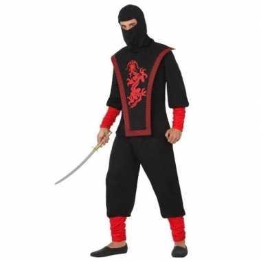 Goedkope ninja vechter verkleed kostuum zwart/rood heren
