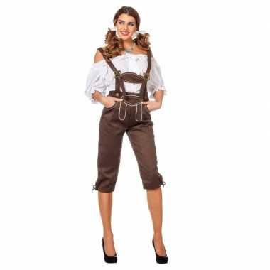 Goedkope oktoberfest luxe dames lederhose bruin