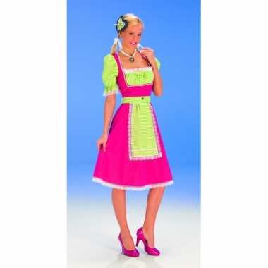 Goedkope oktoberfest roze groen tiroler jurk dames